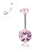 316L Surgical Steel Internally threaded pink CZ double stone Navel ring.