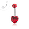316L Surgical Steel Internally threaded Red CZ Navel ring with Heart Shape