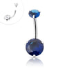 316L Surgical Steel Internally threaded Blue CZ double stone Navel ring.