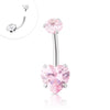 316L Surgical Steel Internally threaded Pink CZ Navel ring with Heart Shape