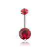 316L Surgical Steel Internally threaded red CZ double stone Navel ring.