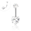 316L Surgical Steel Internally threaded Clear CZ Navel ring with Heart Shape