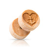Heart and anchor etching on Organic Wood Faux Plugs