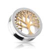 High Polish 316L Surgical steel Screw on plugs  with Gold plated Tree Of Life Tunnel 3D Image.