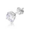 6mm .925 Sterling Silver Basket setting CZ round earrings. (sold by pair)