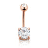 Rose Gold plated 316L Surgical Steel Prong Set Navel ring with 7mm stone