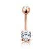 Rose Gold plated 316L Surgical Steel Prong Set Navel ring with 6mm stone