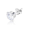 6mm .925 Sterling Silver round CZ ear studs. (sold by pair)