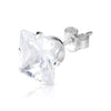 9mm .925 Sterling Silver square CZ ear studs (sold by pair)