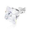 8mm .925 Sterling Silver square CZ ear studs (sold by pair)