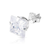 7mm .925 Sterling Silver square CZ ear studs (sold by pair)