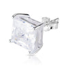 8mm .925 Sterling Silver Basket setting CZ square earrings.   (sold by pair)