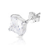 6mm .925 Sterling Silver Basket setting CZ square earrings.   (sold by pair)