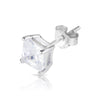 5mm .925 Sterling Silver Basket setting CZ square earrings.   (sold by pair)