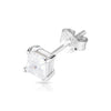 4mm .925 Sterling Silver Basket setting CZ square earrings.   (sold by pair)