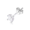 3mm .925 Sterling Silver Basket setting CZ square earrings.   (sold by pair)