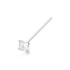 .925 Sterling Silver Square Nose Pin with AAA Clear  Color CZ Stone.