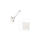 .925 Sterling Silver Nose Bone with AAA Clear Color CZ Stone.