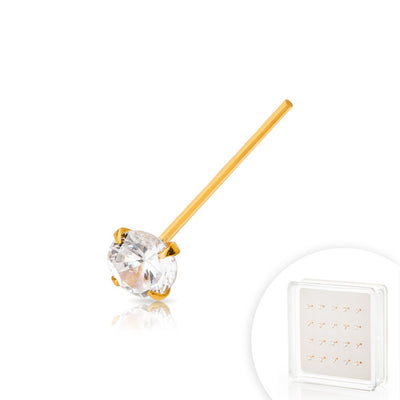 Gold Plated over .925 Sterling Silver Nose Pin with AAA Clear Color CZ Stone.