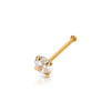 Gold Plated over .925 Sterling Silver Nose Bone with AAA Clear Color CZ Stone.