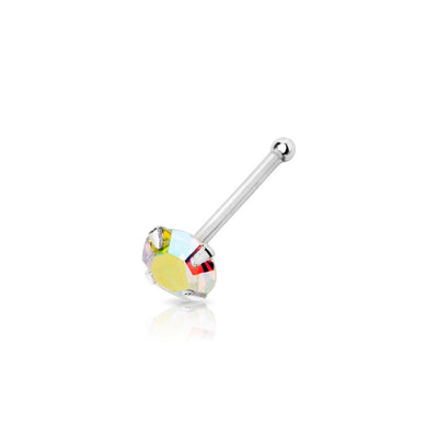 .925 Sterling Silver Nose Bone with AAA AB Colored CZ Stone.