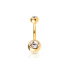 Gold Plated over 316L Double Gem Navel