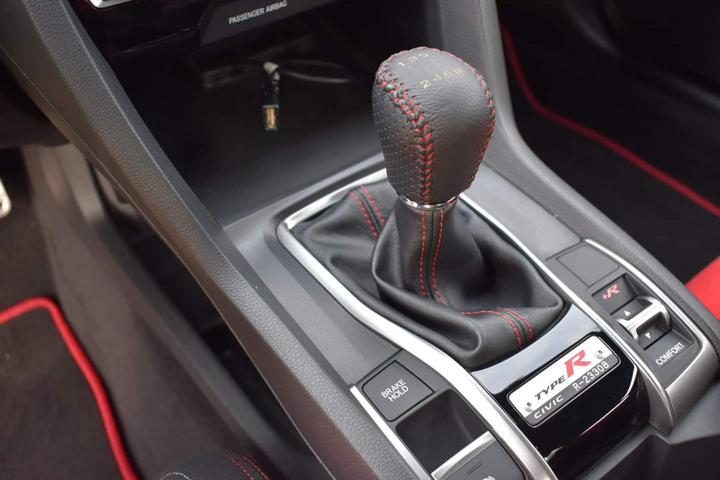 FOR M10X1.25 MAZDA RX7 RX8 3 6 6 SPEED LEATHER RED STITCHING SHIFT KNOB
