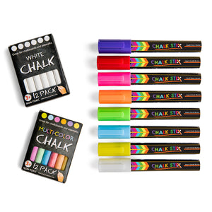 Liquid Chalk Markers - 8 Neon Colors and 24 FREE Pieces of Chalk