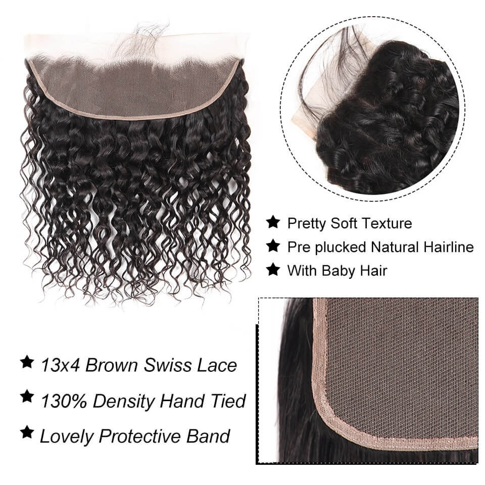 13x4 water wave lace frontal with baby hair