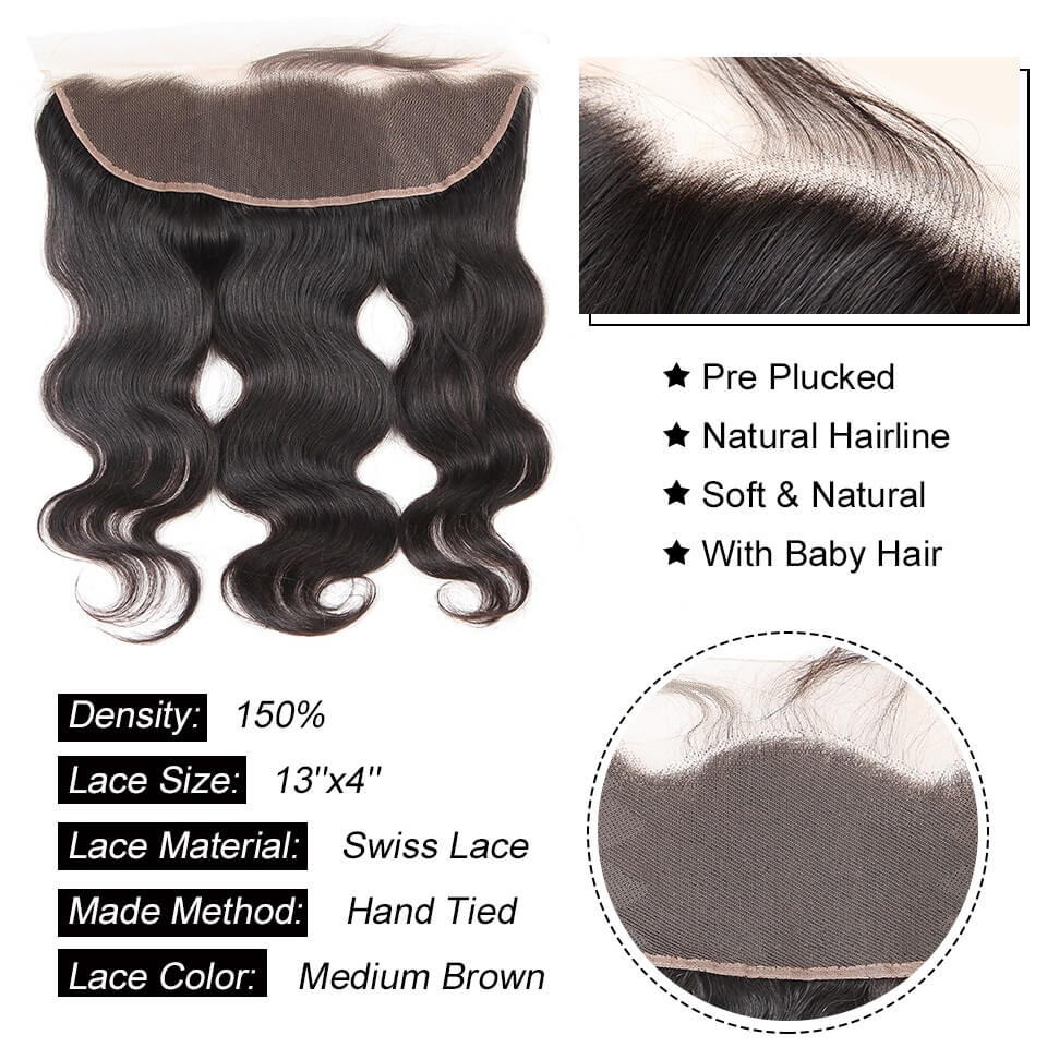 13x4 body wave hair lace frontal with baby hair