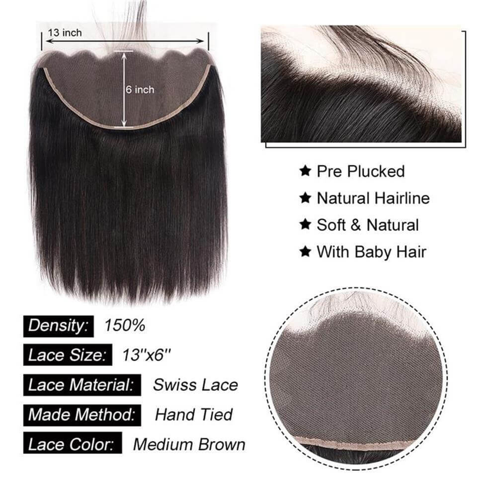 13x6 lace frontal straight human hair