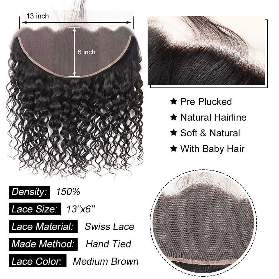 13x6 water wave lace frontal