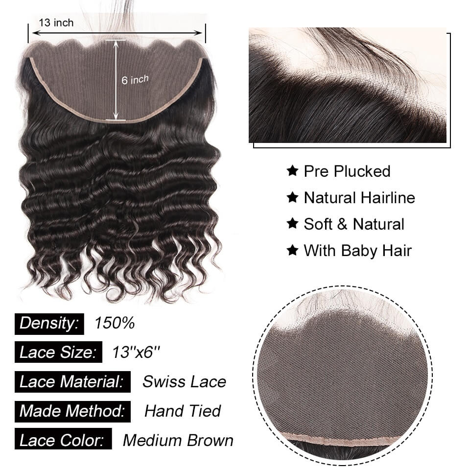 13x6 loose deep lace frontal human hair with baby hair