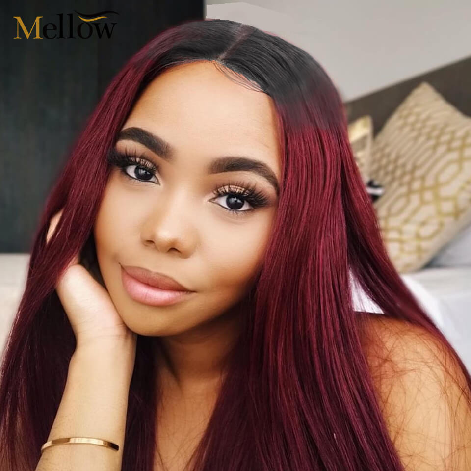 1b 99j straight hair lace front wigs