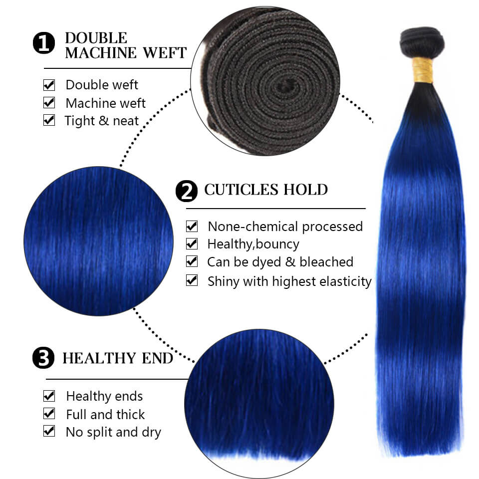1b blue straight bundles with closure
