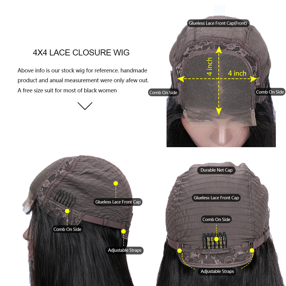 cheap 4x4 lace closure human hair wigs