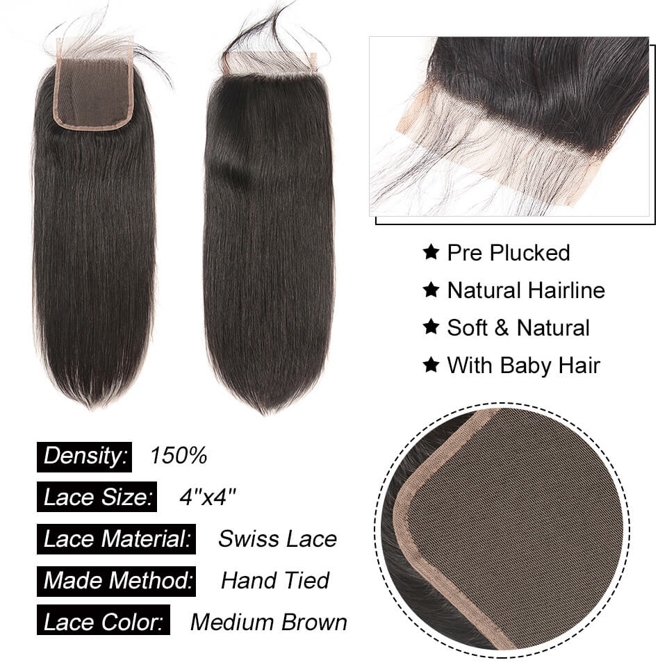 straight human hair closure with baby hair