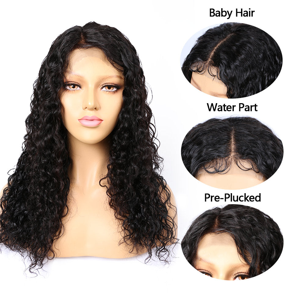 water wave lace closure wigs with baby hair