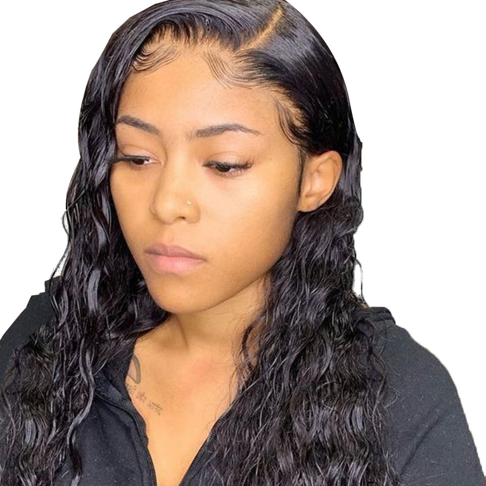 4x4 lace closure wigs water wave human hair