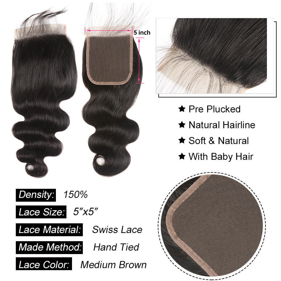 body wave 5x5 closure with baby hair