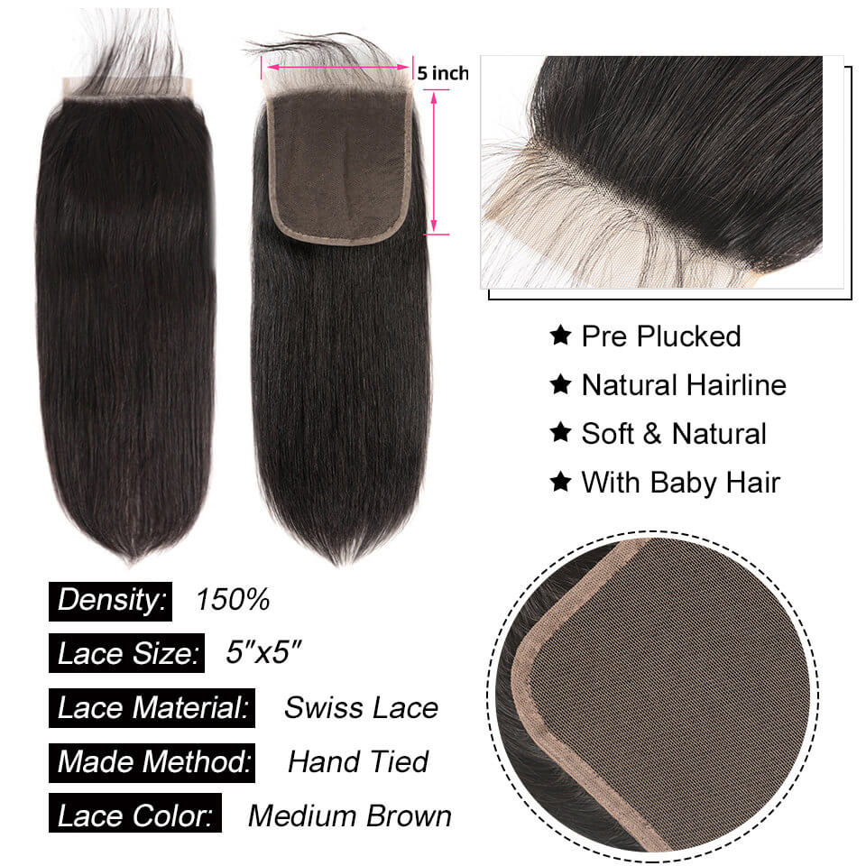 straight human hair 5x5 closure with baby hair
