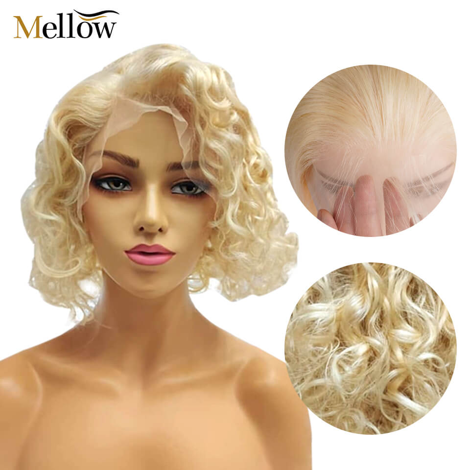 613 blonde water wave bob wigs with baby hair