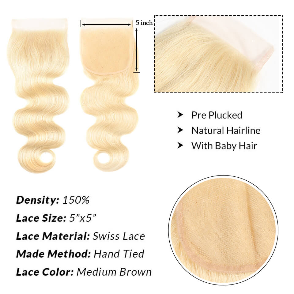 Body Wave 613 Blonde 5x5 Lace Closure With Baby Hair