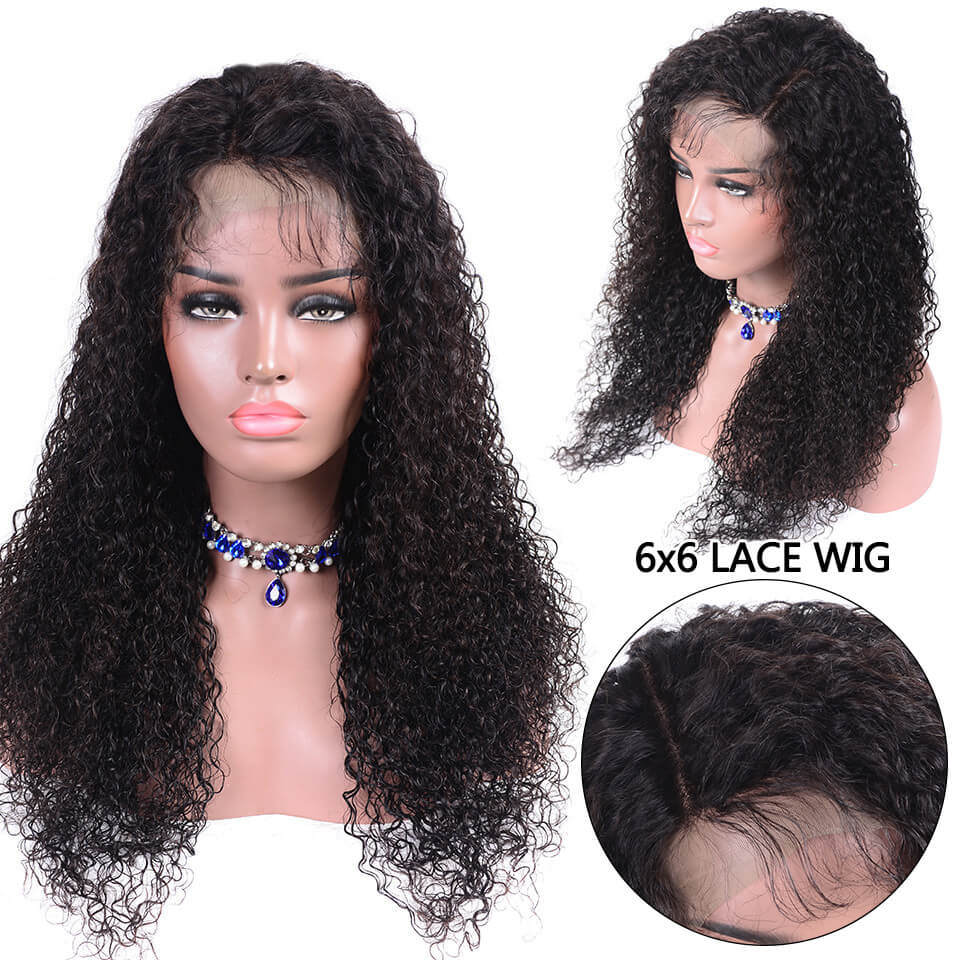 6x6 curly hair lace closure wigs