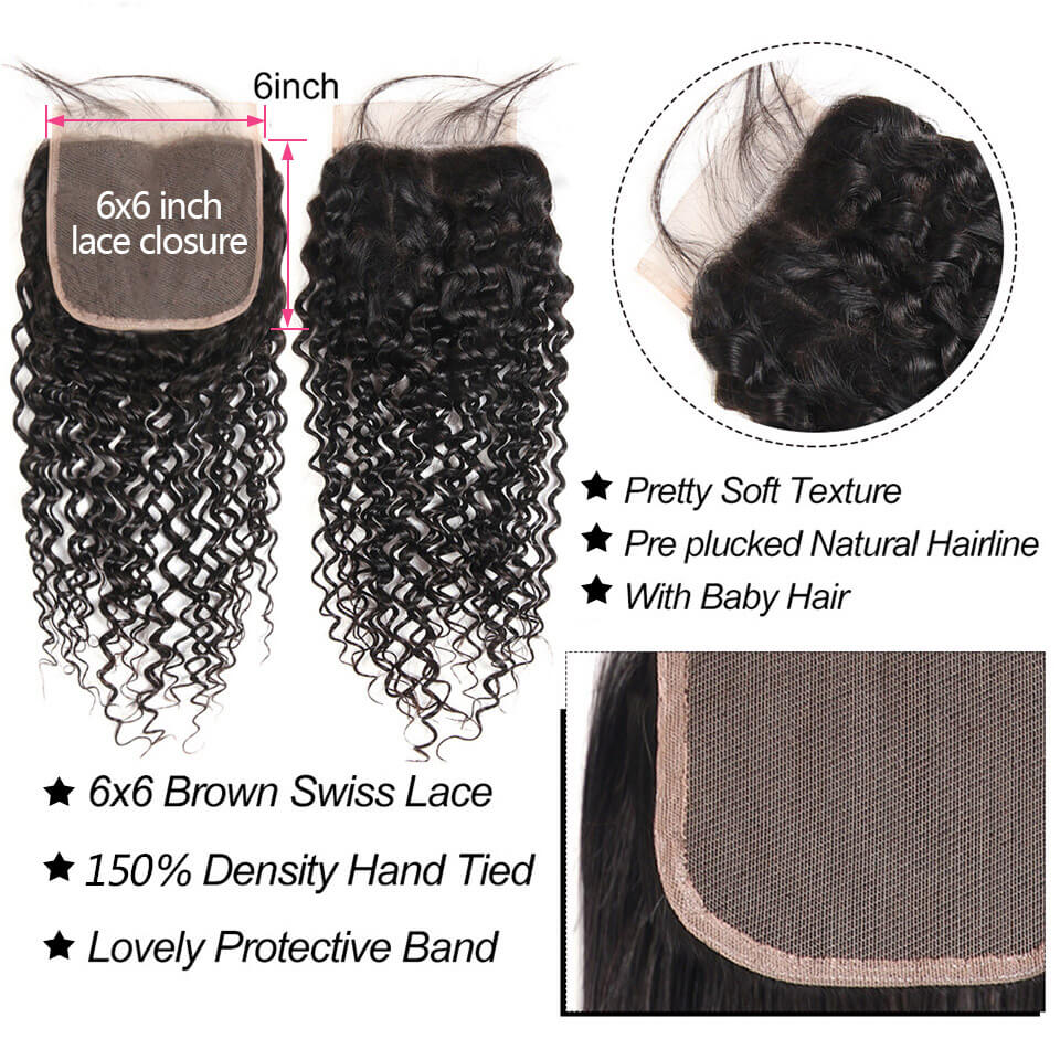 6x6 curly lace closure human hair