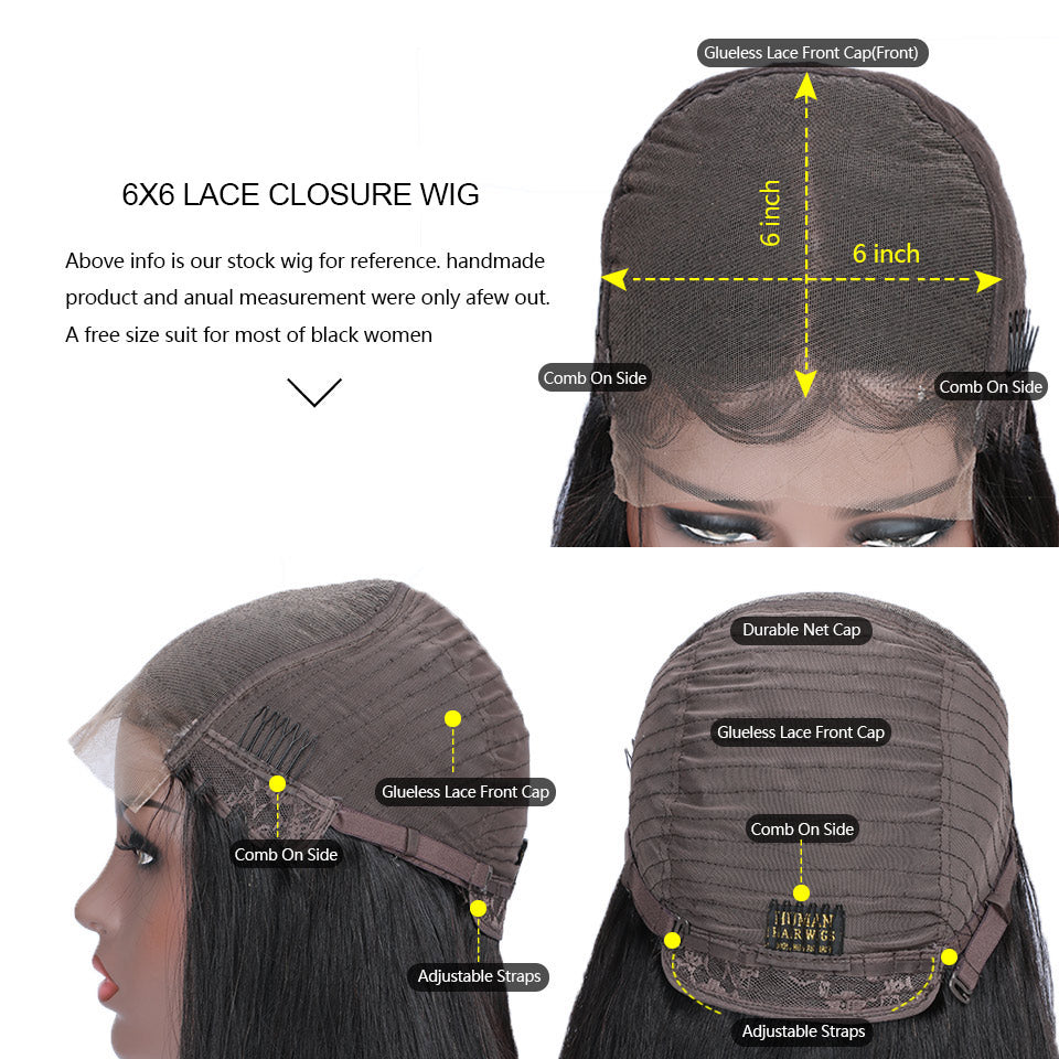 cheap 6x6 lace closure human hair wigs