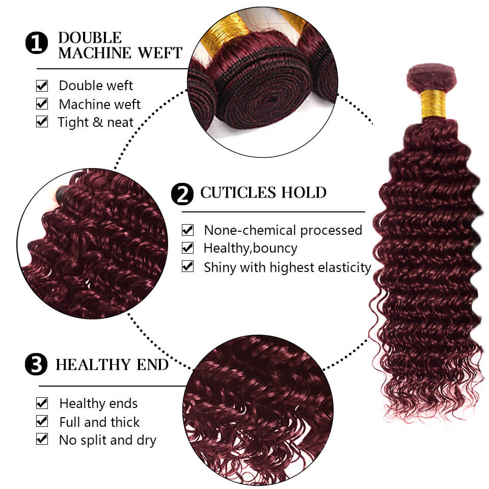 99j deep wave human hair bundles