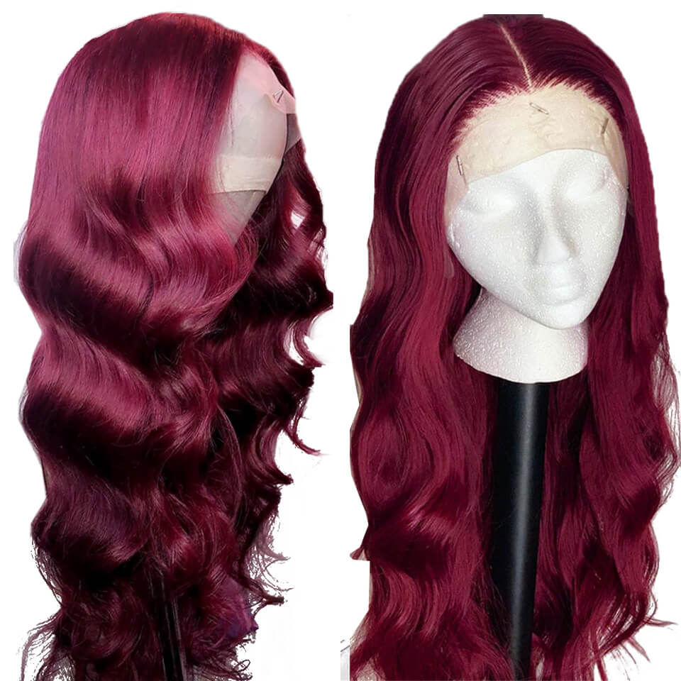 body wave hair 99j lace front wigs