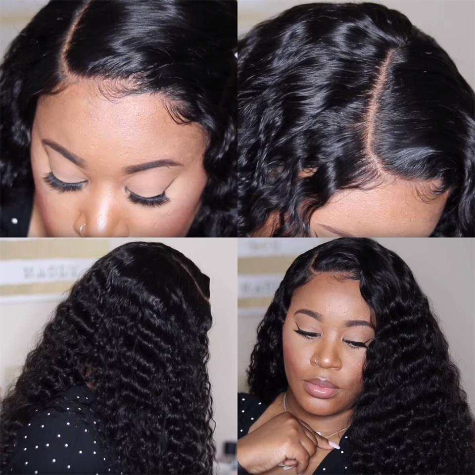 deep wave lace human hair wigs with baby hair