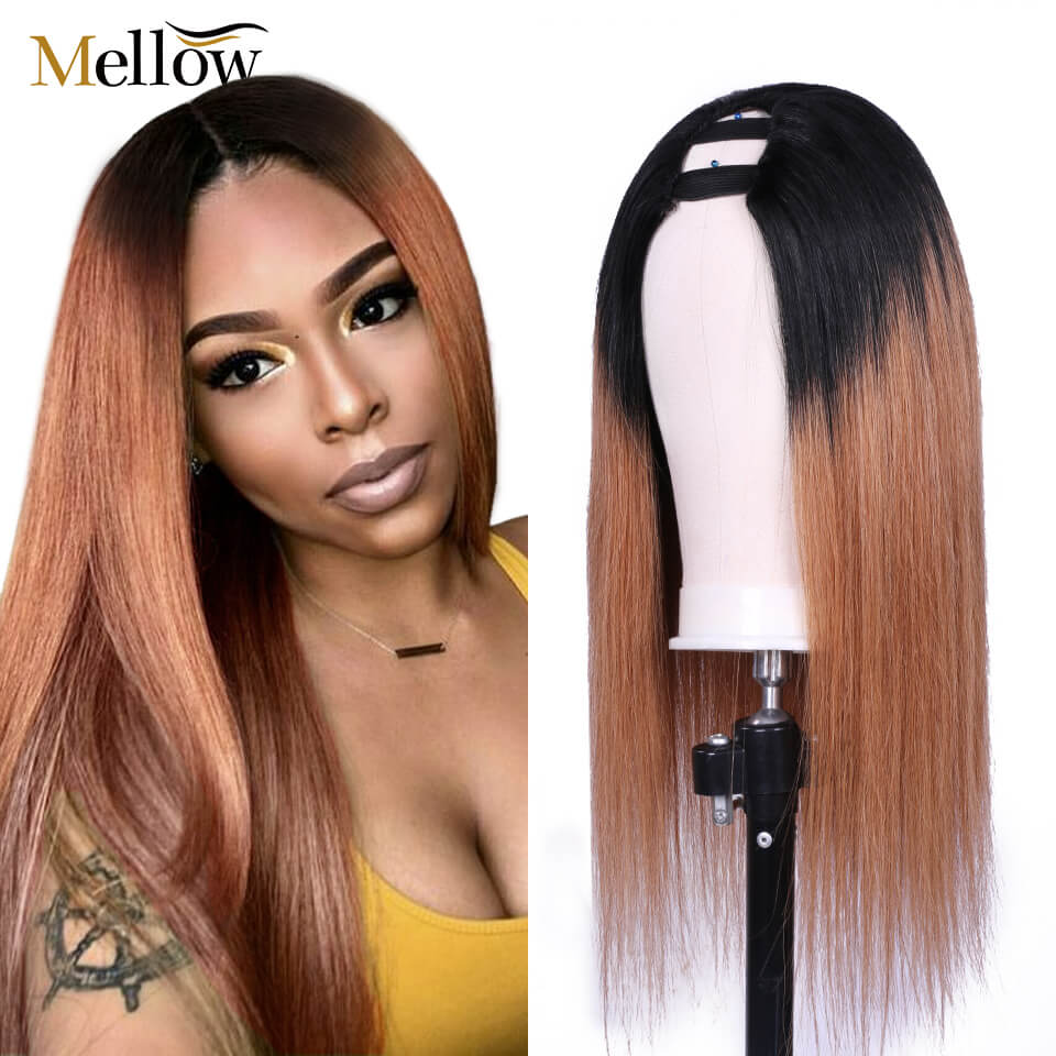 Straight Hair 1B/27 Colored U Part Wigs